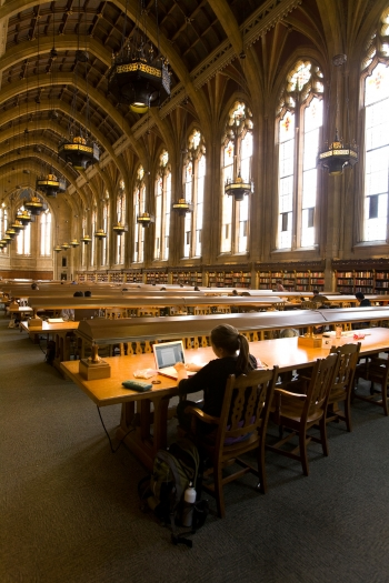 Student studying in Suzzallo reading room
